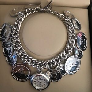 New BURBERRY STERLING SILVER COIN WATCH BRACELET